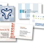 Verschiedene Visitenkarten und Logos