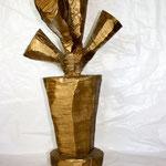 MEIN KLEINER GOLDNER KAKTUS - 2009 - Platane, lackiert, Kettensäge