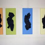 ZERKNÜLLT IN ORANGE, GRÜN, GELB, BLAU, - 2013 - MDF, Packpapier, Eisenfeilspäne