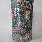 Necessaire aus Wollfilz und Paillettenstoff, Höhe 18cm