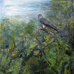 Hannelore Steppuhn ´Kuckuck im Blätterwald`,Collage,Mischtechnik/Leinwand