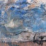 Mona Fischer´Kleine Landschaft` Ton/Sand/Rupfen auf Leinwand