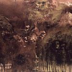 Durchdringung, 06n.T./1992, 110x140 cm, Teer, Gold-u. Kupferpigment auf Leinwand