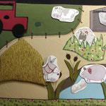 """Panneau """"Cousette à conter"""" : La ferme, les champs"""