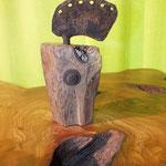 Pfeffermühle, Gewürzmühle mit Kurbel alter Eichenbalken Holz