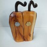 Pfeffermühlen, Gewürzmühlenset mit Kurbel Eibe Holz