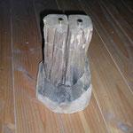 Pfeffer-Salzmühlenset aus altem Eichenbalken mit Untersetzer Holz