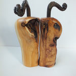 Pfeffermühlen, Gewürzmühlenset mit Kurbel Eibe Holz Unikat Einzelstück  handarbeit design