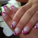 French mit Streifen in pink und lila