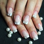 Glitter silber mit Pailetten und French in weiß