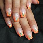 Glitzer neon Orange mit Diamond Touch in grün mit Einleger