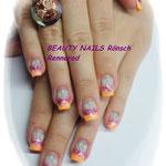 neonorange, Glitzer pink und Airbrush