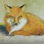 "Sleepy Fox- mixed media- 7""x5"""