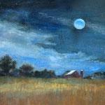 "Moonlit Fields- watercolor/mixed media- 7""x5"""