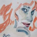 Portrait:Korallenfrau 24x18 cm