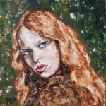 Portrait:Feuerfrau 30x30cm