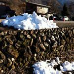 前日、白川郷は雪が降って除雪の跡が・・・でも、降ったうちには入らない