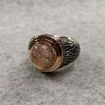 Silberring geschwärzt, 750er Rotgoldfassung, Rutilquarz, 565 Euro