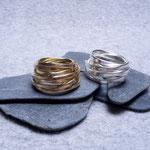 750er Goldring 1.500 Euro, Silberring 185 Euro