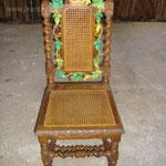 chaise Henri III glacis et vernis sur ornements