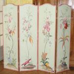 Paravent 1,84m x1.61m 4 panneaux avec marouflage des toiles sur le bois et décors