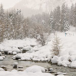 Torrente Roseg durante una nevicata