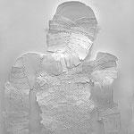 """Ausschnitt """"Rüstung"""", 2011, Papier, Metallklemmen, ca. H 200 x B 120 cm"""