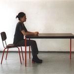 """""""Abhebung I"""", 2002, Aktion (Tisch und Stuhl)"""