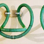 """""""Raumzeichnung - Rohrsystem"""", ehem. Wäscherei,  2003,  Rohrschellen,  Schlauch"""