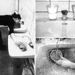 """""""Annahme"""", 2000, Aktion, Die Wasserhähne der drei Becken sind gleichzeitig geöffnet. Das Wasser wird angenommen in den beiden äußeren Becken in Bechern; bis diese voll sind. In der Mitte trinke ich den Wasserstrahl."""