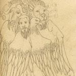 The Ezequiel Cherubim - pencil sketchbook drawing - 2005 Copyright 2005 Johan Palacio