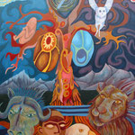 "The Tree of Life (48""X36"") 7/2006 Acryic, The Tree of Life stands in the Garden of Eden guarded by angels and celestial creatures."