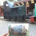 """De Jung EL110 """"Bleddy Merry"""" onderging ook een schilderbeurt waarbij ze haar oorspronkelijke uiterlijk weer terugkreeg. De foto is genomen na binnekomst in het toenmalige depot Bruchem in 1992."""