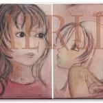 Schwestern, zwei Leinwände a. 55 x 45 cm Eitempera auf Leinwand - Menschen - Leinwandbilder