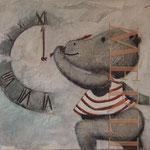 nielpferd lernt die uhrzeit - Bilder für`s Kinderzimmer - Leinwandbilder - Cartoon