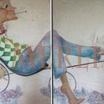 lustiger radfahrer mit Glückskäfer