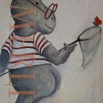 nilpferd mit schmetterling - Bilder für`s Kinderzimmer - Leinwandbilder - Cartoon