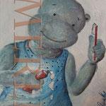 Gabriele Merl - nilpferd mit zahnbürste - Bilder für`s Kinderzimmer, Kinderarzt, Praxis, Cartoon - Leinwandbilder