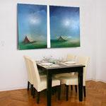 blaue Sehnsucht im Zimmer. Traumhaftes blau - Leinwandbilder - Wohnbilder - Stimmung auf Leinwand