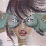 Gaumenfreude, leckeres Fischessen, 50 x 60 cm - Cartoon - Eitempera auf Leinwand - Menschen auf Leinwandbilder