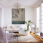 weisses zimmer - hauswand mit strumpfhose - Leinwandbilder - Wohnbilder - Dielenbilder
