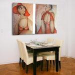 rotlicht - frauen auf Leinwand mit Hut - Wohnbilder - Leinwandbilder - Cartoon - Menschen auf Leinwand
