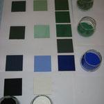 Mischfarben (kalte Töne) mit traditionellen Pigmenten