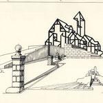"""Memorial-Landschaft für die """"Verlorenen Orte"""". Entwurf von 1988."""