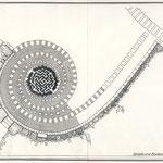 Grundidee des Erinnerungsobjekts an die verlorenen Leipziger Barockgärten (Grundriss)