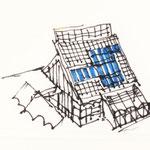Ideenskizze 1 - flexible Tuchabspannungen schaffen Windschutz und Schattenbereiche.
