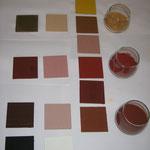 Mischfarben (warme Töne) mit traditionellen Pigmenten