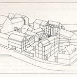 Räumliche Darstellung des Quartiers (Turm nur angedeutet)