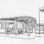Kiosk, Grillplatz und Sanitärbereiche