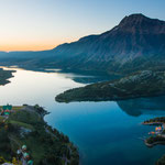 Aerial shot of Waterton Lakes with Prince of Wales Hotel, © Katie Goldie @goldiehawn_